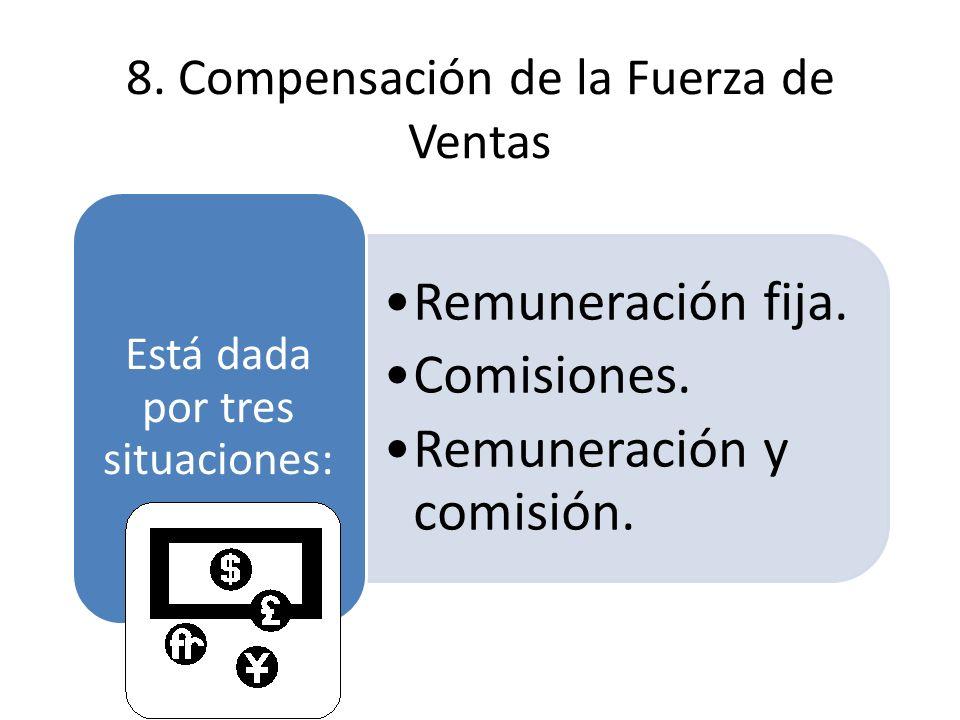 8. Compensación de la Fuerza de Ventas Remuneración fija.Remuneración fija. Comisiones.Comisiones. Remuneración y comisión.Remuneración y comisión. Es