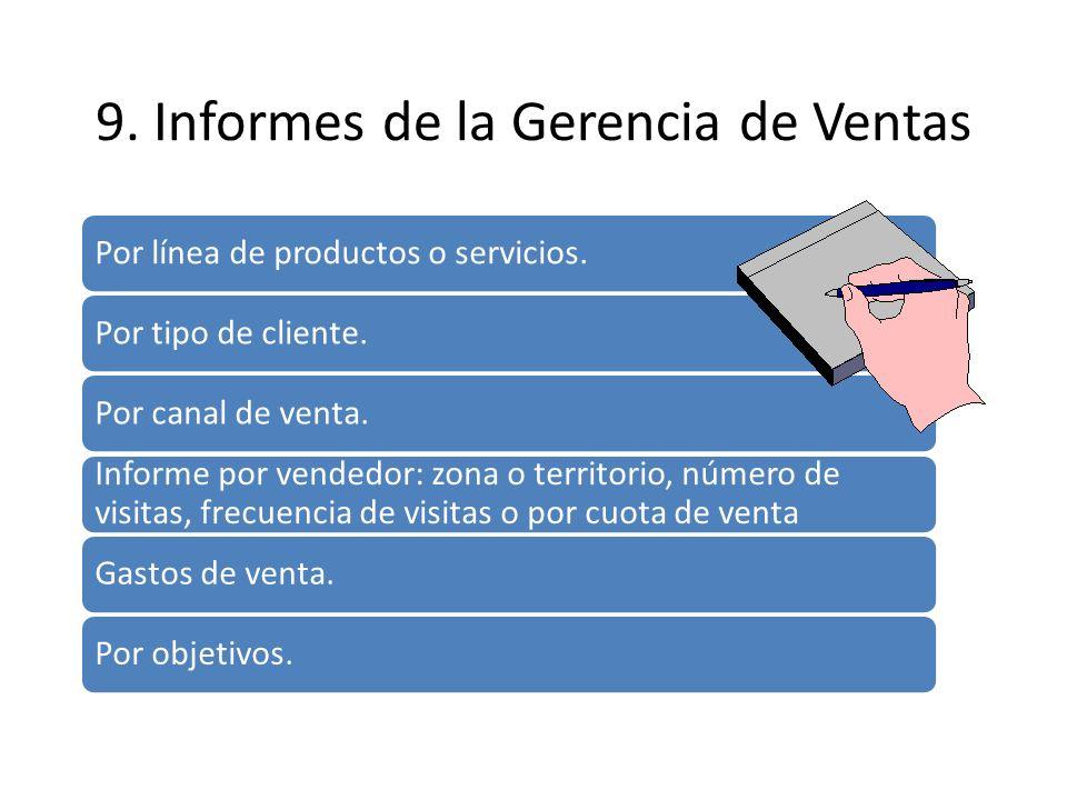9. Informes de la Gerencia de Ventas Por línea de productos o servicios. Por tipo de cliente. Por canal de venta. Informe por vendedor: zona o territo