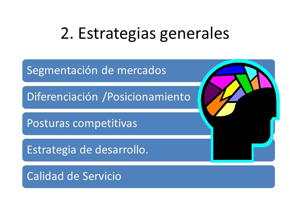 2. Estrategias generales Segmentación de mercados Diferenciación /Posicionamiento Posturas competitivas Estrategia de desarrollo. Calidad de Servicio