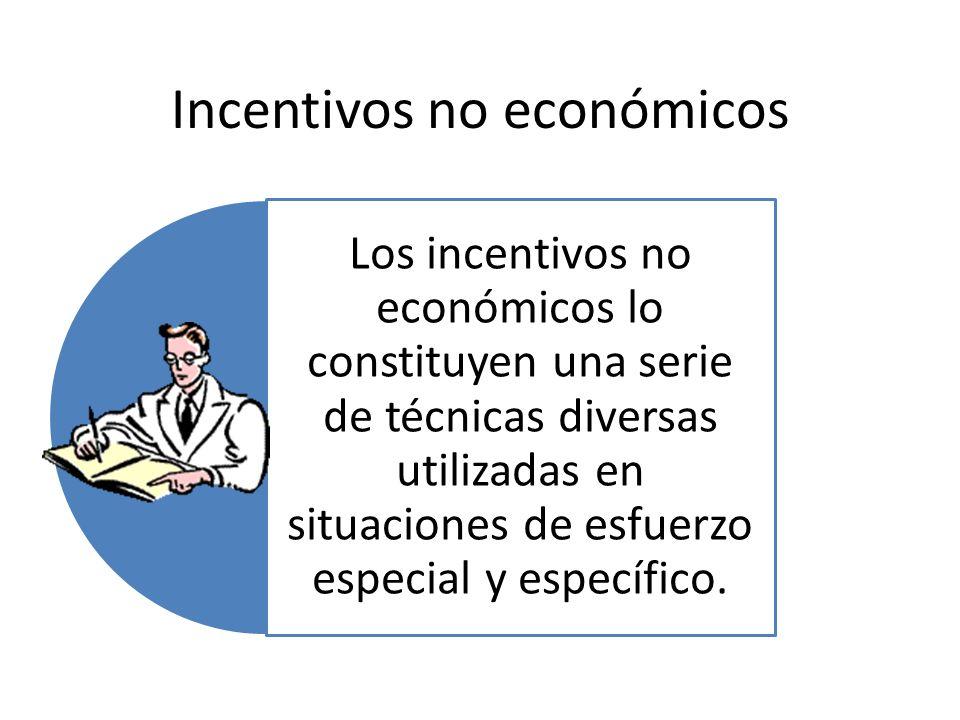 Incentivos no económicos Los incentivos no económicos lo constituyen una serie de técnicas diversas utilizadas en situaciones de esfuerzo especial y e