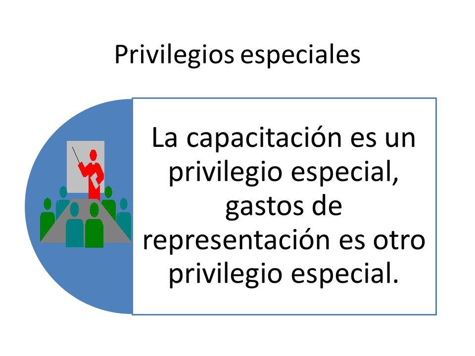 Privilegios especiales La capacitación es un privilegio especial, gastos de representación es otro privilegio especial.