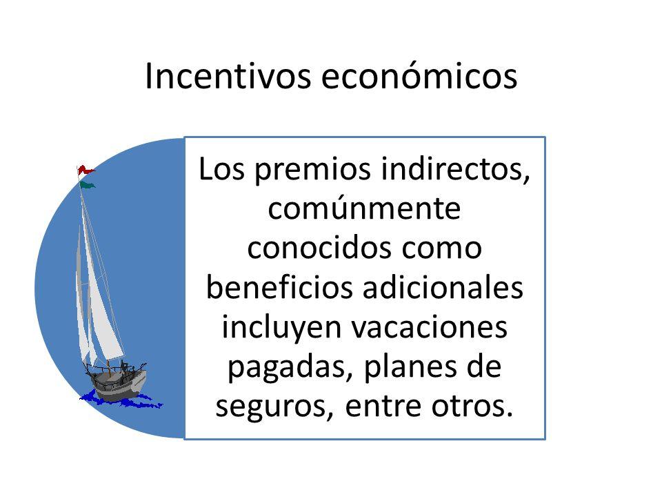 Incentivos económicos Los premios indirectos, comúnmente conocidos como beneficios adicionales incluyen vacaciones pagadas, planes de seguros, entre o