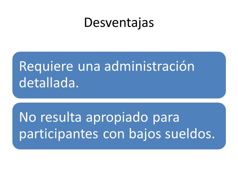 Desventajas Requiere una administración detallada. No resulta apropiado para participantes con bajos sueldos.