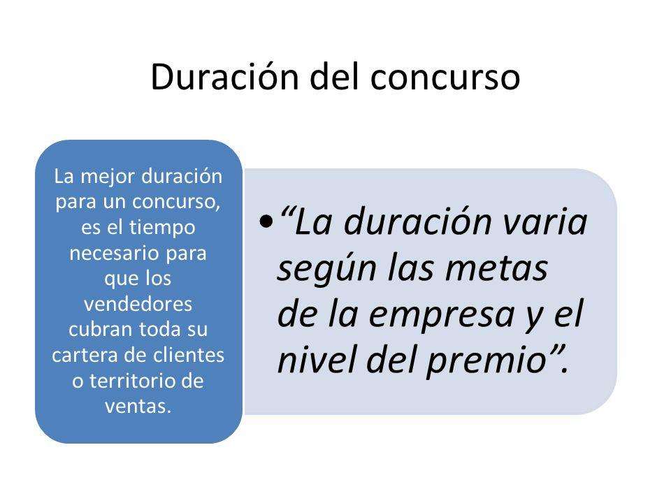 Duración del concurso La duración varia según las metas de la empresa y el nivel del premio.La duración varia según las metas de la empresa y el nivel