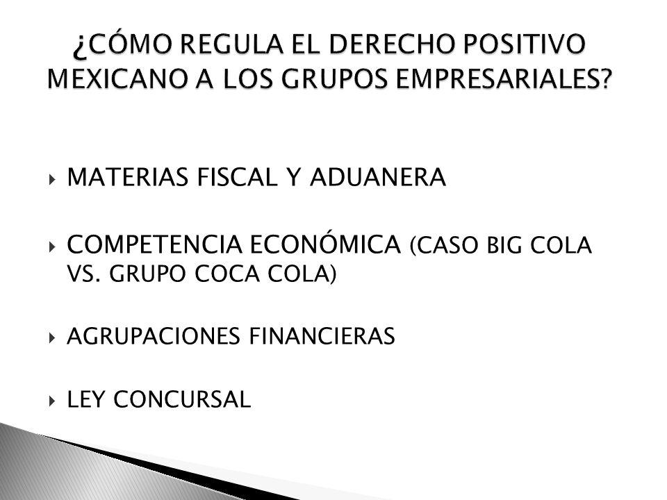 MATERIAS FISCAL Y ADUANERA COMPETENCIA ECONÓMICA (CASO BIG COLA VS. GRUPO COCA COLA) AGRUPACIONES FINANCIERAS LEY CONCURSAL