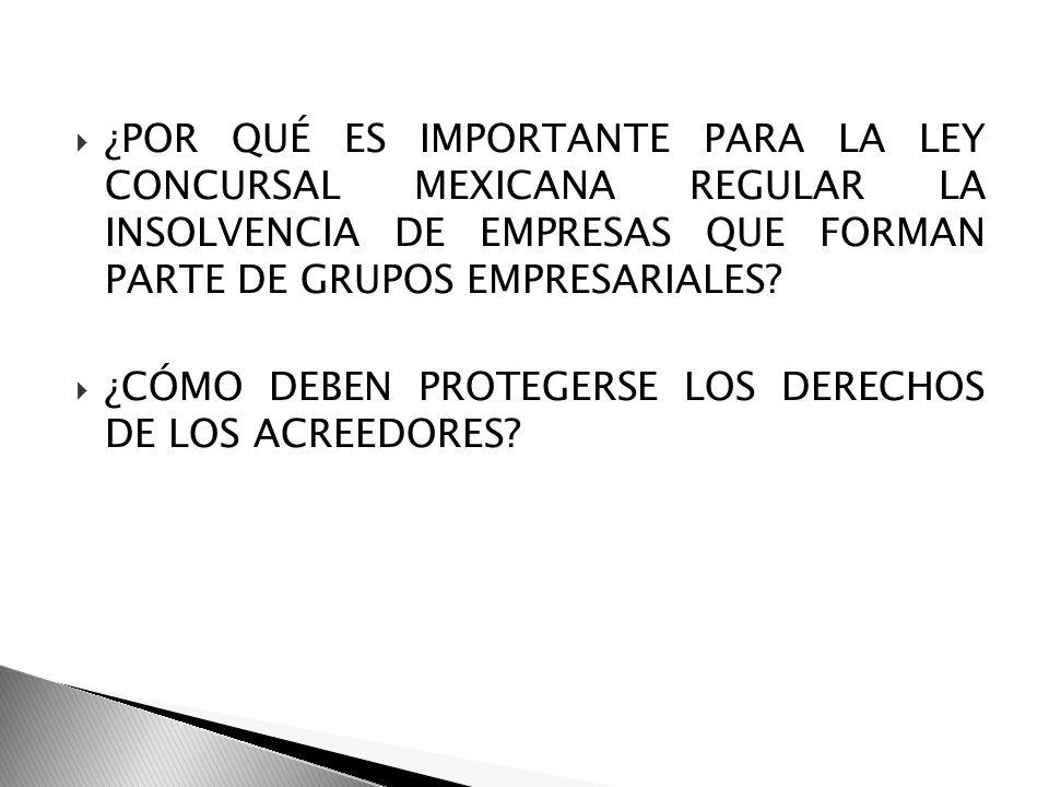 ¿POR QUÉ ES IMPORTANTE PARA LA LEY CONCURSAL MEXICANA REGULAR LA INSOLVENCIA DE EMPRESAS QUE FORMAN PARTE DE GRUPOS EMPRESARIALES? ¿CÓMO DEBEN PROTEGE
