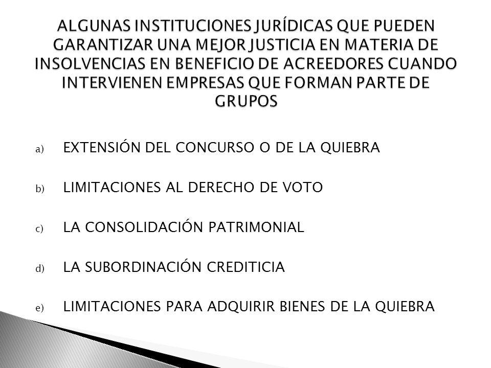 a) EXTENSIÓN DEL CONCURSO O DE LA QUIEBRA b) LIMITACIONES AL DERECHO DE VOTO c) LA CONSOLIDACIÓN PATRIMONIAL d) LA SUBORDINACIÓN CREDITICIA e) LIMITAC