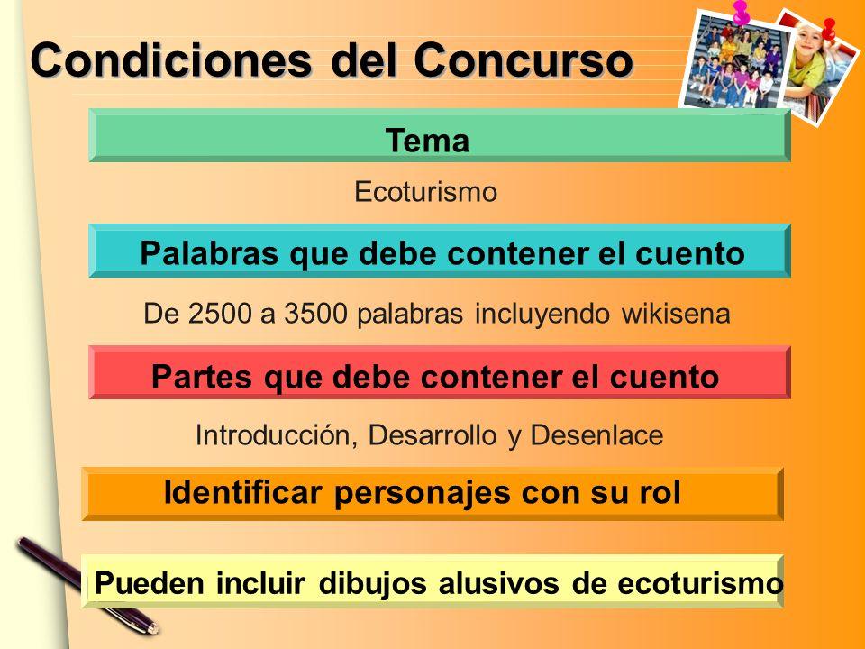 Condiciones del Concurso Palabras que debe contener el cuento Tema Partes que debe contener el cuento Identificar personajes con su rol Ecoturismo De