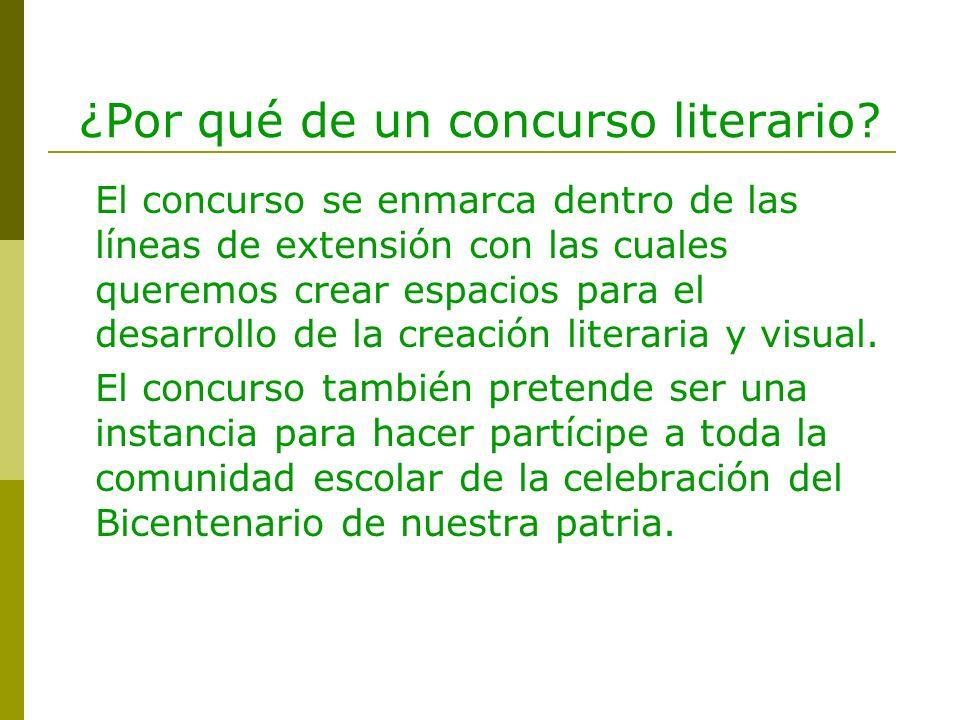 ¿Por qué de un concurso literario? El concurso se enmarca dentro de las líneas de extensión con las cuales queremos crear espacios para el desarrollo