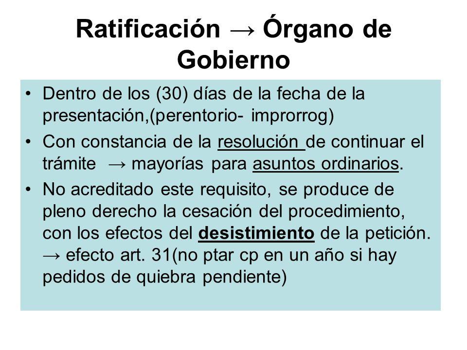 Ratificación Órgano de Gobierno Dentro de los (30) días de la fecha de la presentación,(perentorio- improrrog) Con constancia de la resolución de cont