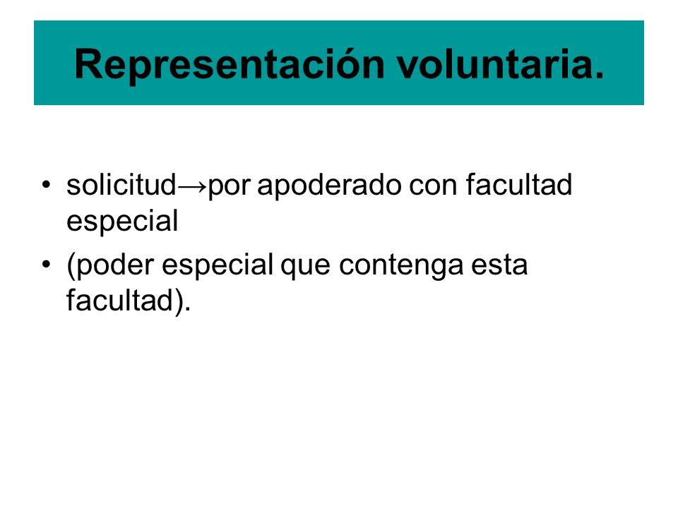 Representación voluntaria. solicitudpor apoderado con facultad especial (poder especial que contenga esta facultad).