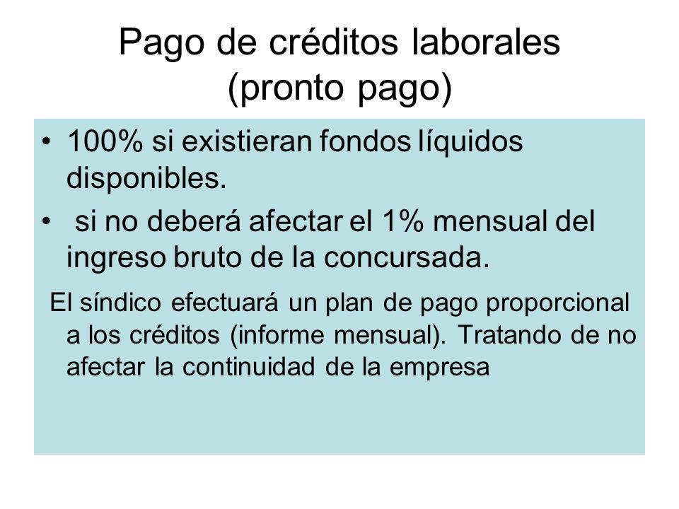 Pago de créditos laborales (pronto pago) 100% si existieran fondos líquidos disponibles. si no deberá afectar el 1% mensual del ingreso bruto de la co