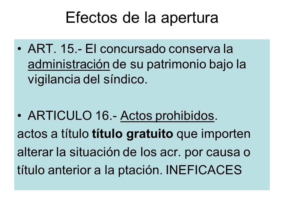 Efectos de la apertura ART. 15.- El concursado conserva la administración de su patrimonio bajo la vigilancia del síndico. ARTICULO 16.- Actos prohibi