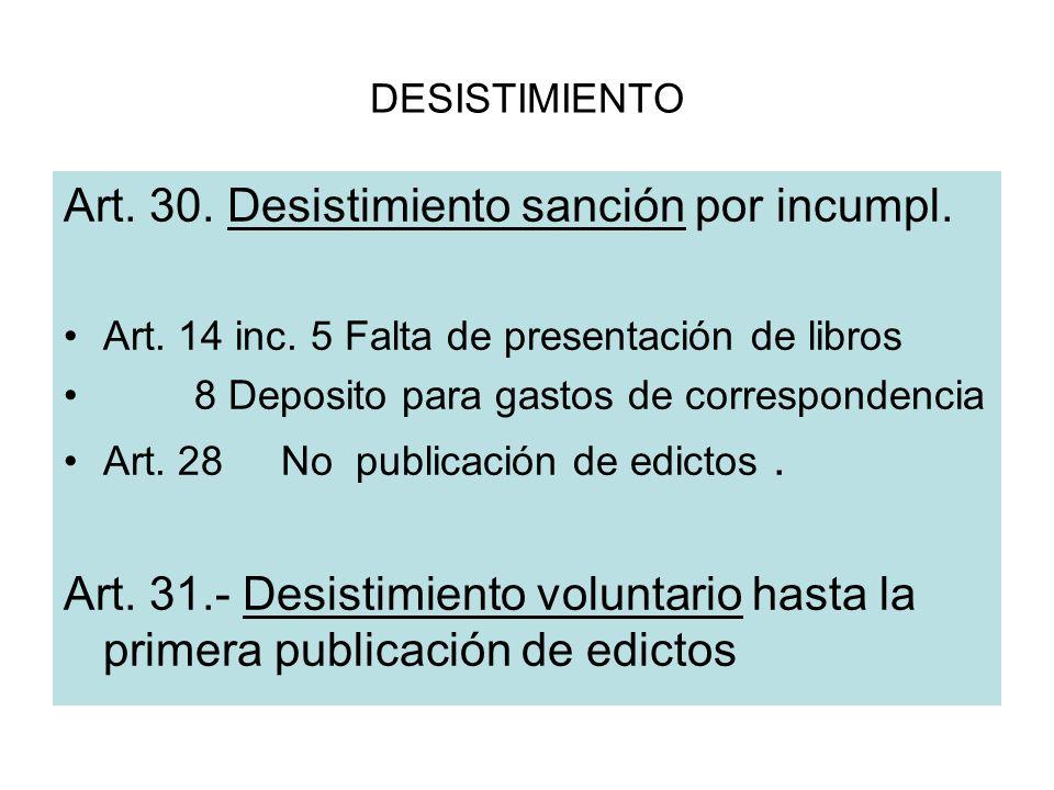 DESISTIMIENTO Art. 30. Desistimiento sanción por incumpl. Art. 14 inc. 5 Falta de presentación de libros 8 Deposito para gastos de correspondencia Art
