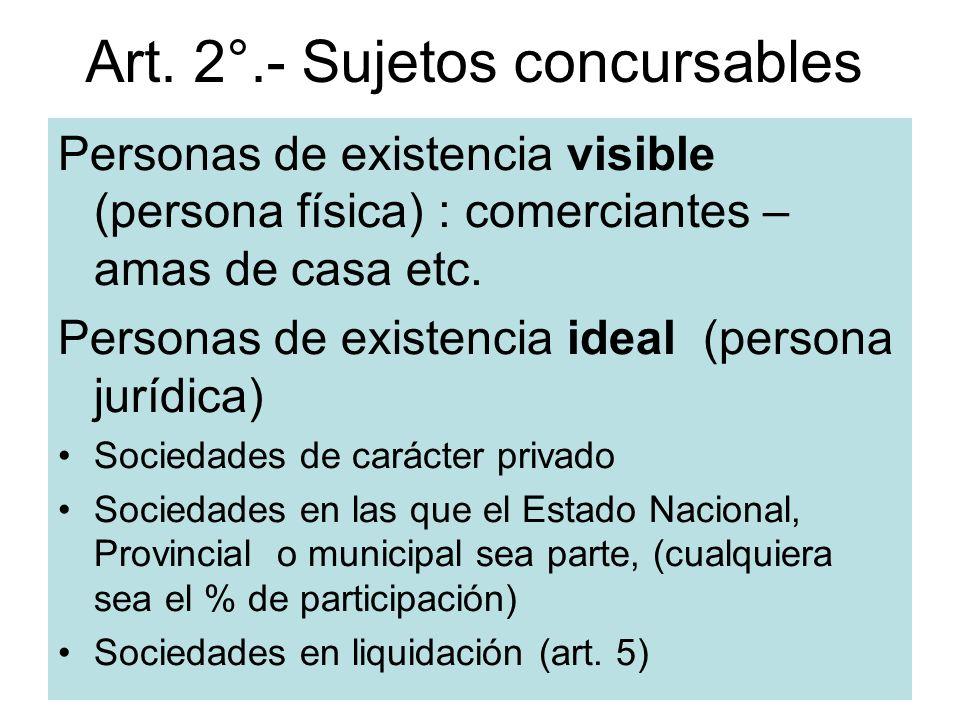 Art. 2°.- Sujetos concursables Personas de existencia visible (persona física) : comerciantes – amas de casa etc. Personas de existencia ideal (person