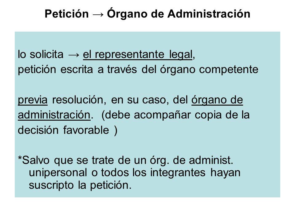 Petición Órgano de Administración lo solicita el representante legal, petición escrita a través del órgano competente previa resolución, en su caso, d