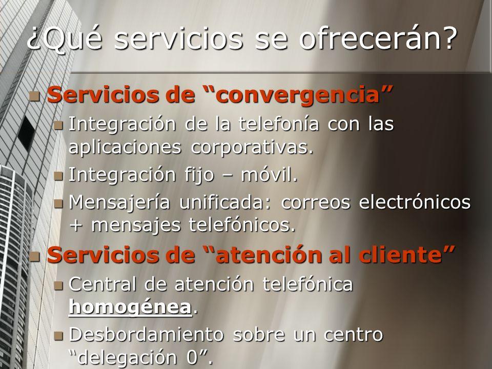 ¿Qué servicios se ofrecerán? Servicios de convergencia Servicios de convergencia Integración de la telefonía con las aplicaciones corporativas. Integr