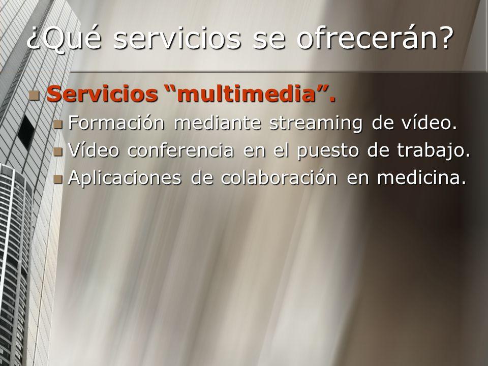 ¿Qué servicios se ofrecerán? Servicios multimedia. Servicios multimedia. Formación mediante streaming de vídeo. Formación mediante streaming de vídeo.