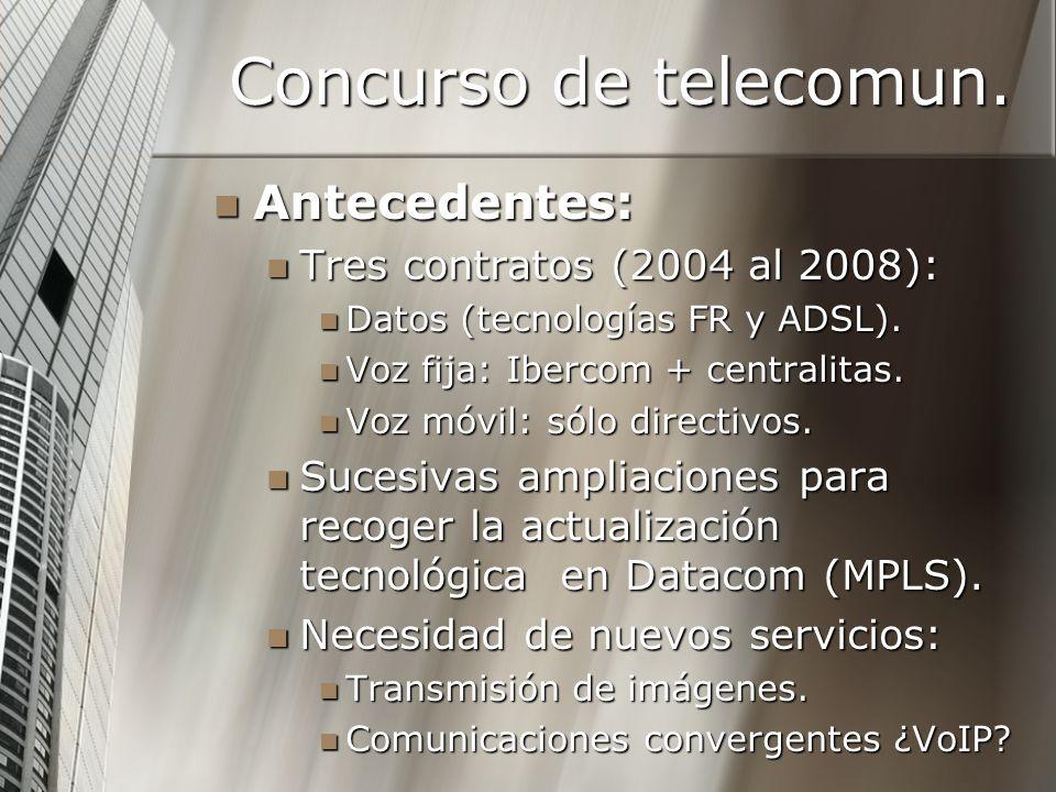 Concurso de telecomun. Antecedentes: Antecedentes: Tres contratos (2004 al 2008): Tres contratos (2004 al 2008): Datos (tecnologías FR y ADSL). Datos