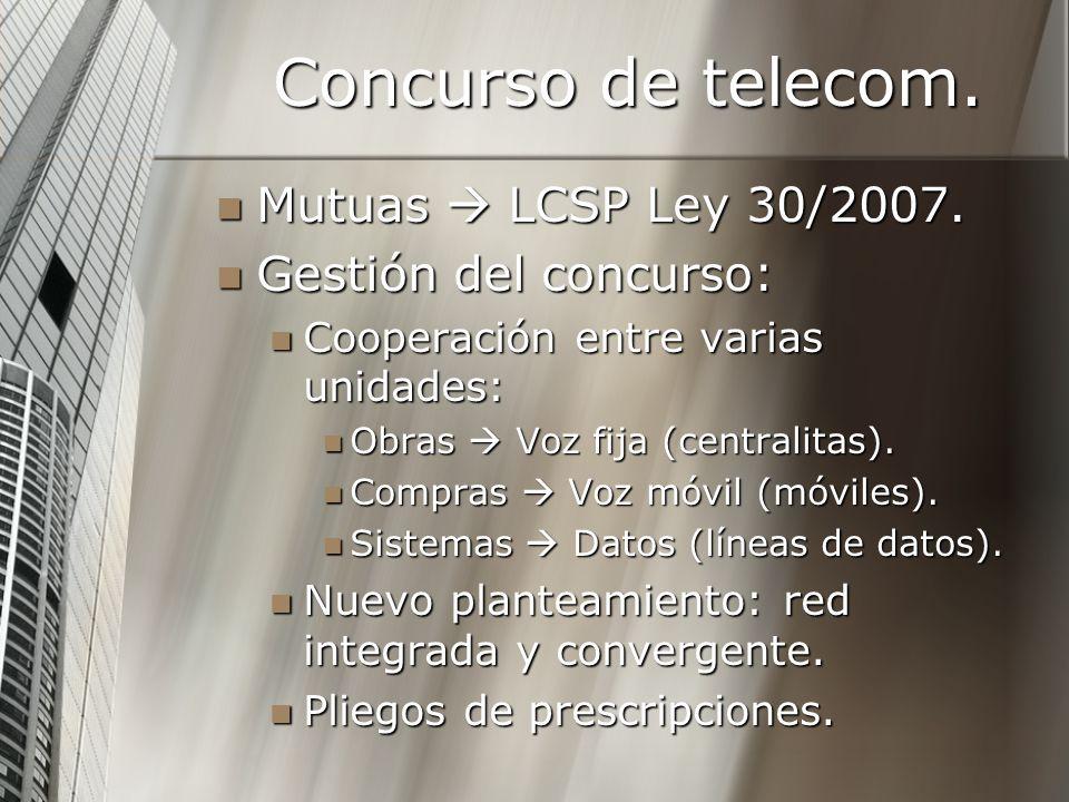 Concurso de telecom. Mutuas LCSP Ley 30/2007. Mutuas LCSP Ley 30/2007. Gestión del concurso: Gestión del concurso: Cooperación entre varias unidades: