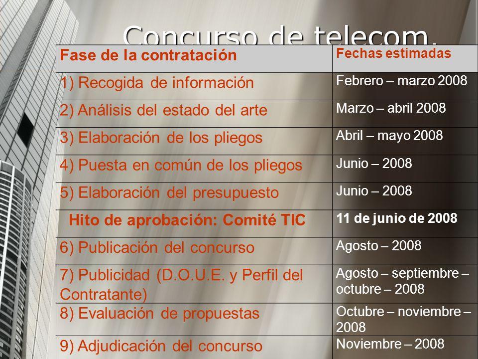 Fase de la contratación Fechas estimadas 1) Recogida de información Febrero – marzo 2008 2) Análisis del estado del arte Marzo – abril 2008 3) Elabora