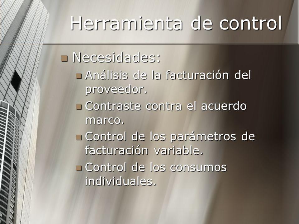 Herramienta de control Necesidades: Necesidades: Análisis de la facturación del proveedor. Análisis de la facturación del proveedor. Contraste contra