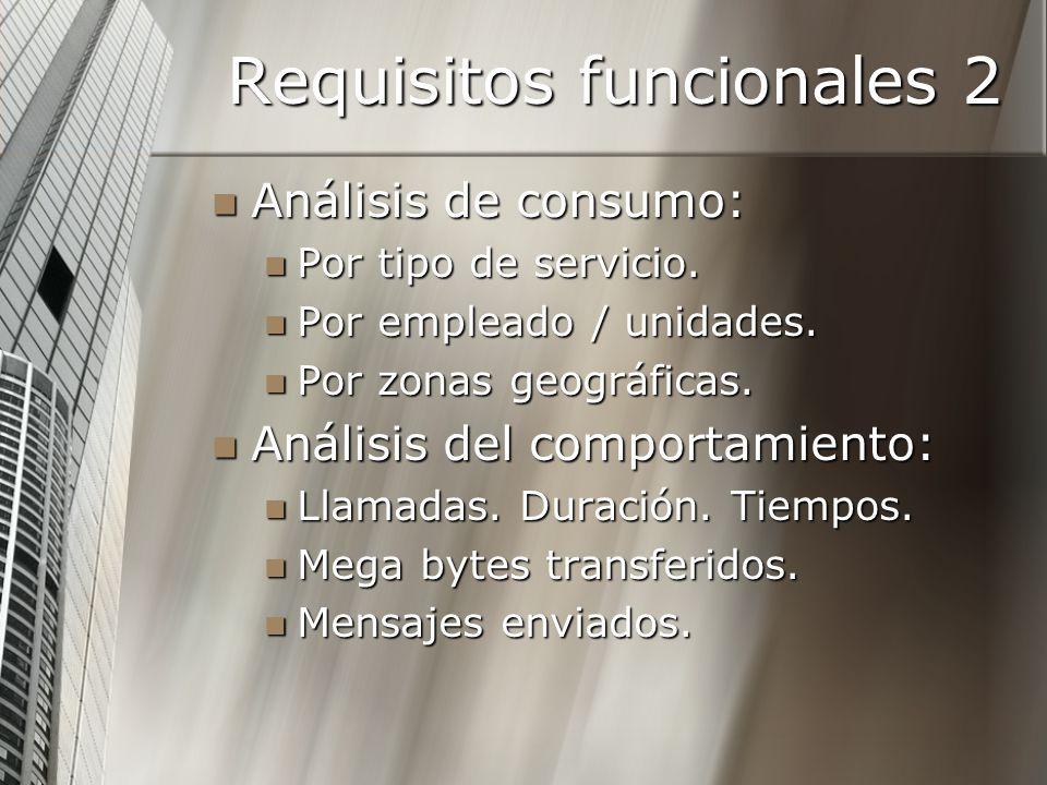 Requisitos funcionales 2 Análisis de consumo: Análisis de consumo: Por tipo de servicio. Por tipo de servicio. Por empleado / unidades. Por empleado /
