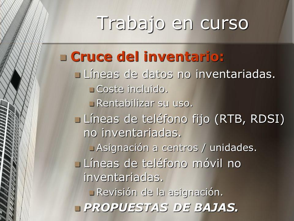 Trabajo en curso Cruce del inventario: Cruce del inventario: Líneas de datos no inventariadas. Líneas de datos no inventariadas. Coste incluido. Coste