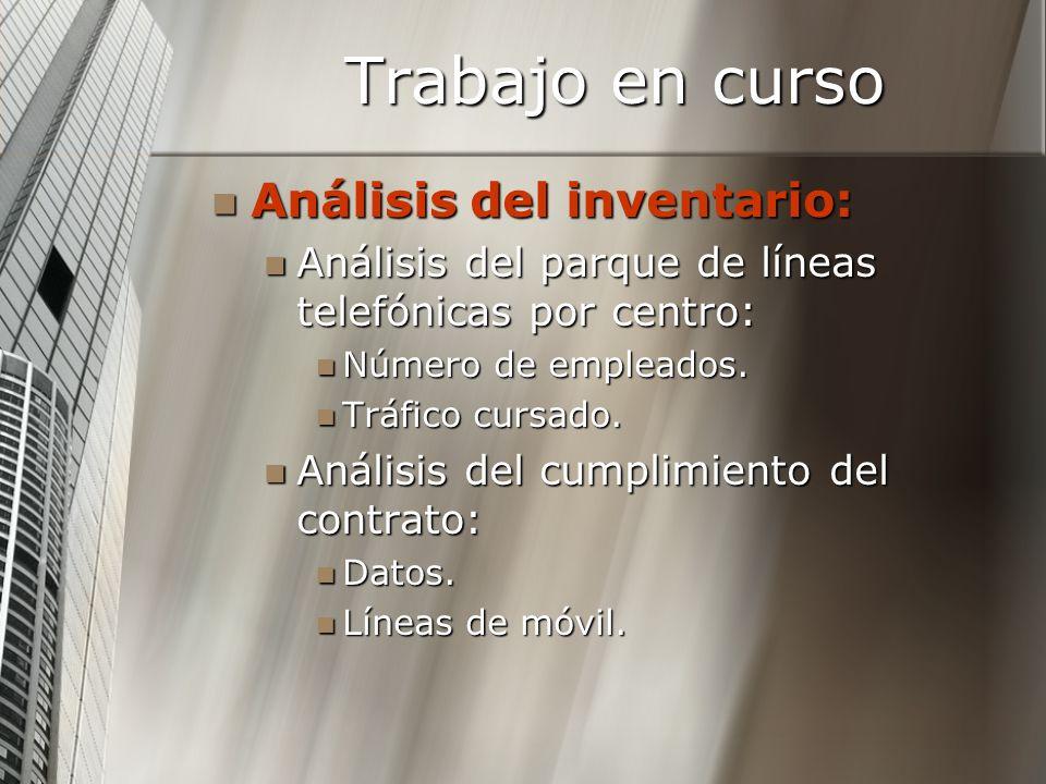Trabajo en curso Análisis del inventario: Análisis del inventario: Análisis del parque de líneas telefónicas por centro: Análisis del parque de líneas