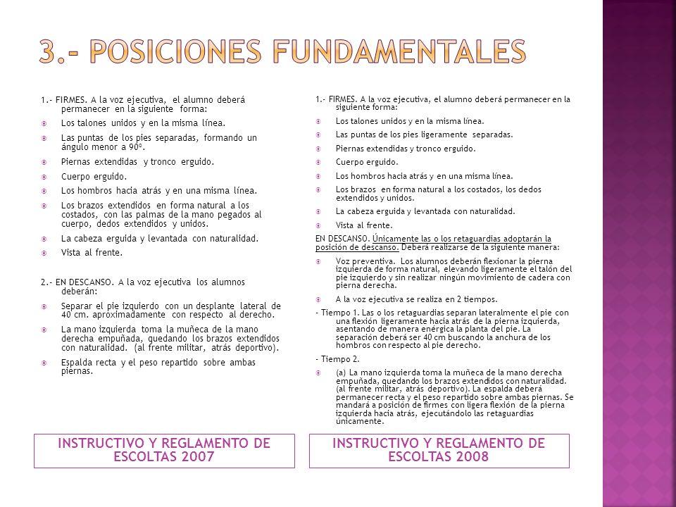 INSTRUCTIVO Y REGLAMENTO DE ESCOLTAS 2007 INSTRUCTIVO Y REGLAMENTO DE ESCOLTAS 2008 1.- FIRMES. A la voz ejecutiva, el alumno deberá permanecer en la