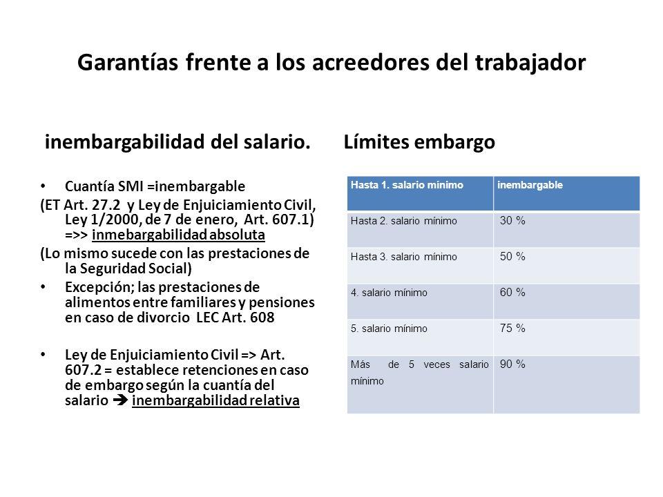 Garantías frente a los acreedores del trabajador inembargabilidad del salario. Cuantía SMI =inembargable (ET Art. 27.2 y Ley de Enjuiciamiento Civil,