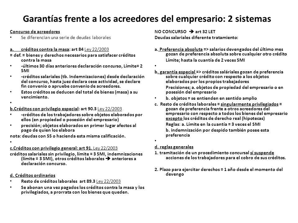 Garantías frente a los acreedores del empresario: 2 sistemas Concurso de acreedores Se diferencian una serie de deudas laborales a.créditos contra la