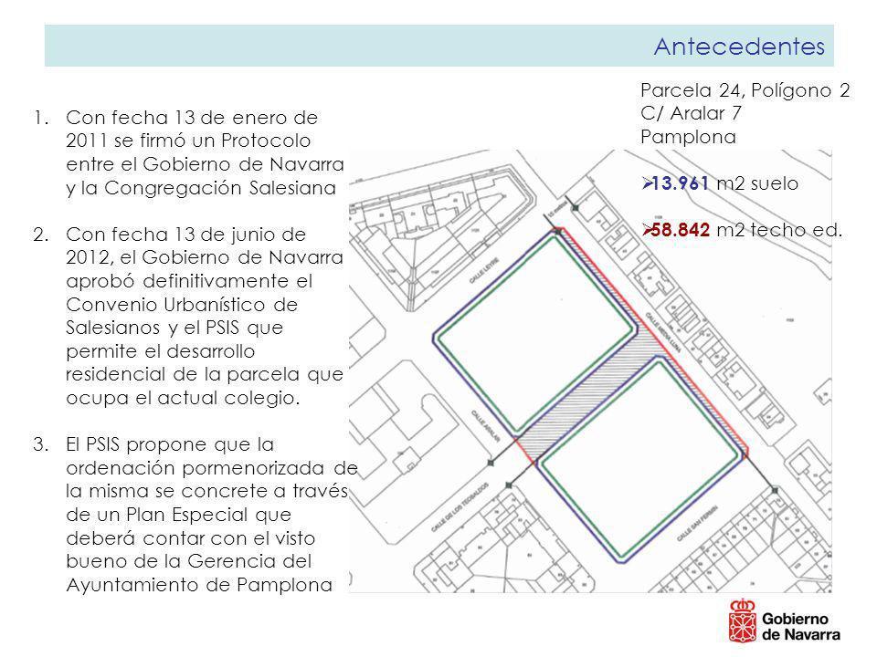Antecedentes 1.Con fecha 13 de enero de 2011 se firmó un Protocolo entre el Gobierno de Navarra y la Congregación Salesiana 2.Con fecha 13 de junio de 2012, el Gobierno de Navarra aprobó definitivamente el Convenio Urbanístico de Salesianos y el PSIS que permite el desarrollo residencial de la parcela que ocupa el actual colegio.