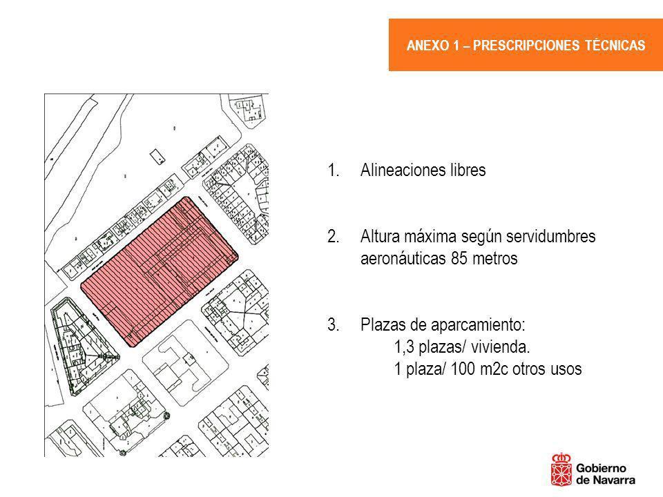 ANEXO 1 – PRESCRIPCIONES TÉCNICAS 1.Alineaciones libres 2.Altura máxima según servidumbres aeronáuticas 85 metros 3. Plazas de aparcamiento: 1,3 plaza