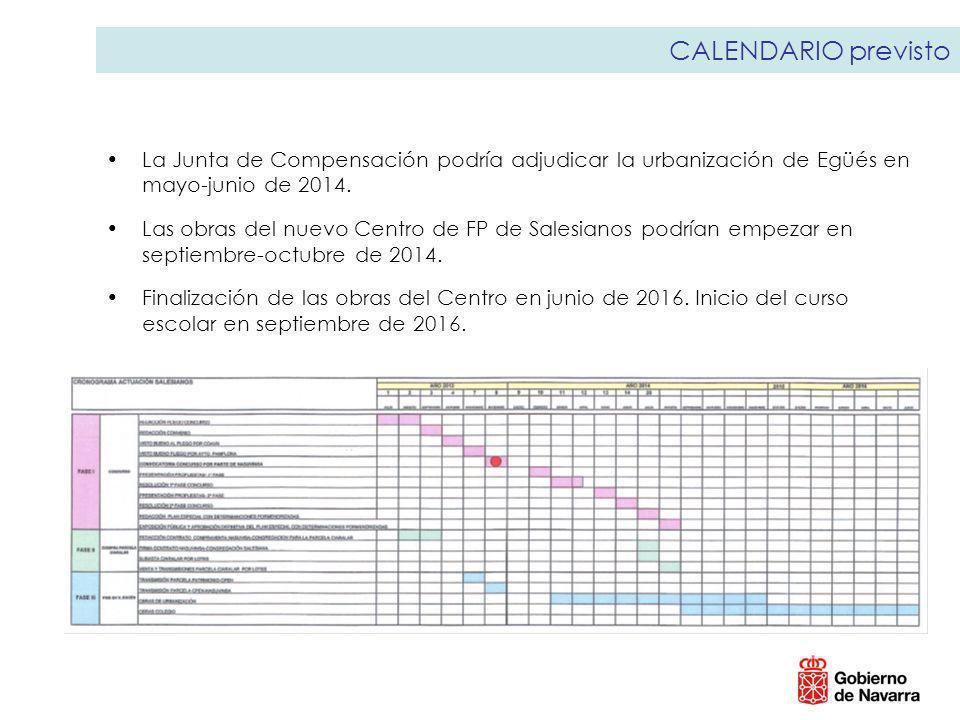 CALENDARIO previsto La Junta de Compensación podría adjudicar la urbanización de Egüés en mayo-junio de 2014. Las obras del nuevo Centro de FP de Sale