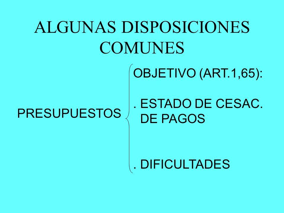 ALGUNAS DISPOSICIONES COMUNES PRESUPUESTOS OBJETIVO (ART.1,65):. ESTADO DE CESAC. DE PAGOS. DIFICULTADES