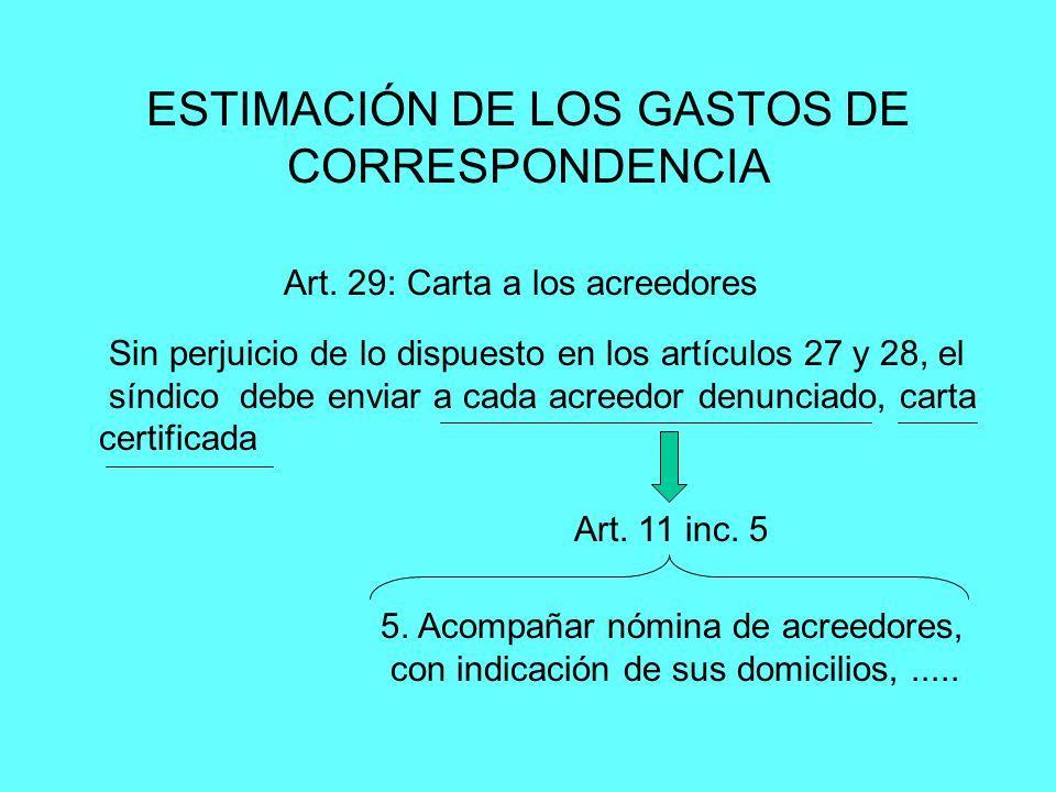 ESTIMACIÓN DE LOS GASTOS DE CORRESPONDENCIA Sin perjuicio de lo dispuesto en los artículos 27 y 28, el síndico debe enviar a cada acreedor denunciado,