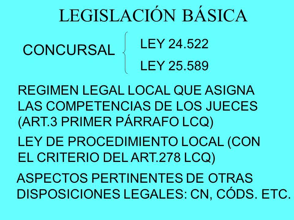 LEGISLACIÓN BÁSICA CONCURSAL LEY 24.522 LEY 25.589 LEY DE PROCEDIMIENTO LOCAL (CON EL CRITERIO DEL ART.278 LCQ) ASPECTOS PERTINENTES DE OTRAS DISPOSIC
