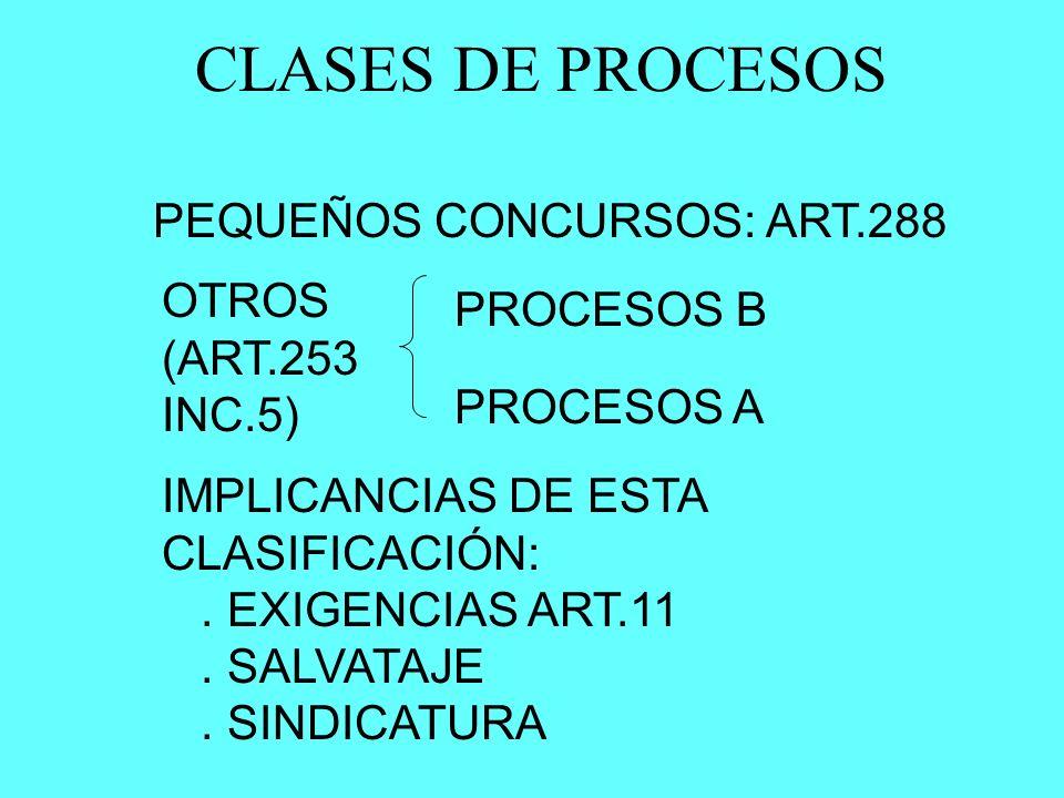 CLASES DE PROCESOS PEQUEÑOS CONCURSOS: ART.288 OTROS (ART.253 INC.5) PROCESOS B PROCESOS A IMPLICANCIAS DE ESTA CLASIFICACIÓN:. EXIGENCIAS ART.11. SAL