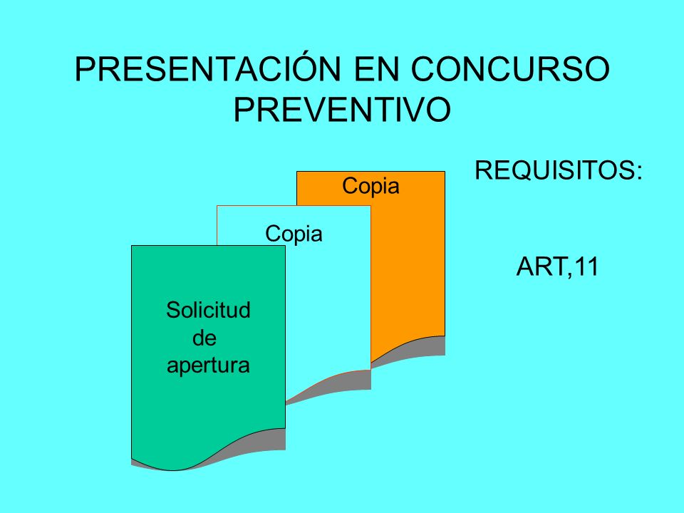 PRESENTACIÓN EN CONCURSO PREVENTIVO Copia Solicitud de apertura REQUISITOS: ART,11