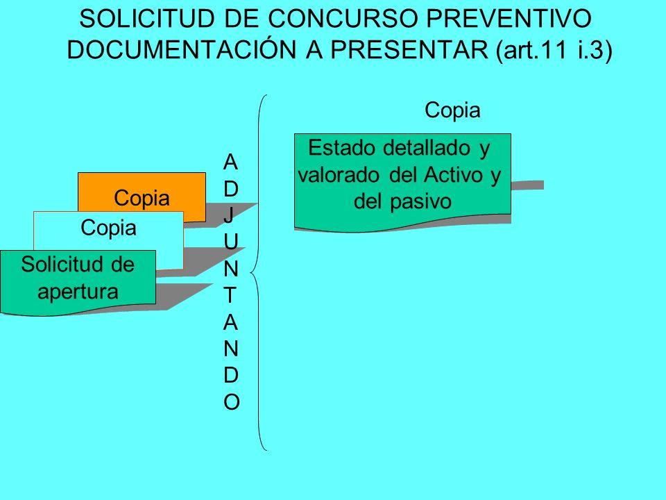 Copia Estado detallado y valorado del Activo y del pasivo Copia Solicitud de apertura SOLICITUD DE CONCURSO PREVENTIVO DOCUMENTACIÓN A PRESENTAR (art.