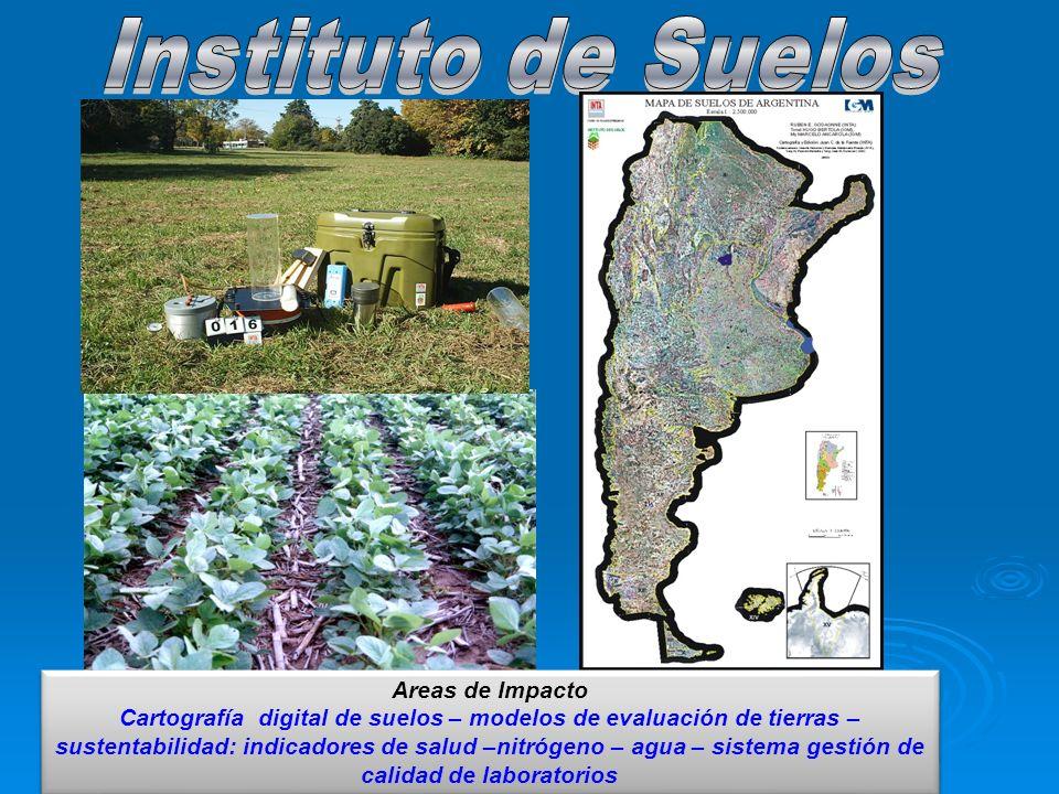 Areas de Impacto Cartografía digital de suelos – modelos de evaluación de tierras – sustentabilidad: indicadores de salud –nitrógeno – agua – sistema