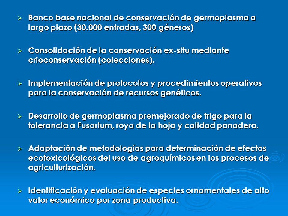 Banco base nacional de conservación de germoplasma a largo plazo (30.000 entradas, 300 géneros) Banco base nacional de conservación de germoplasma a l