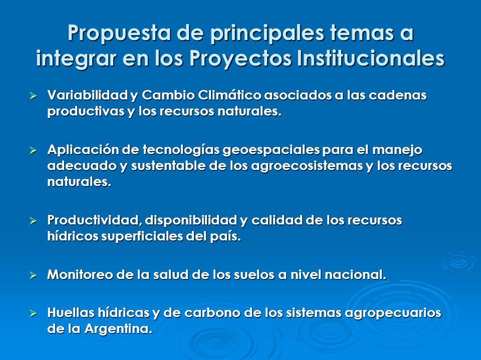 Propuesta de principales temas a integrar en los Proyectos Institucionales Variabilidad y Cambio Climático asociados a las cadenas productivas y los r