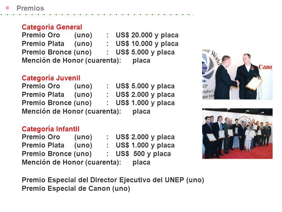Premios Categoría General Premio Oro (uno) : US$ 20.000 y placa Premio Plata (uno) : US$ 10.000 y placa Premio Bronce (uno): US$ 5.000 y placa Mención de Honor (cuarenta): placa Categoría Juvenil Premio Oro (uno) : US$ 5.000 y placa Premio Plata (uno) : US$ 2.000 y placa Premio Bronce (uno): US$ 1.000 y placa Mención de Honor (cuarenta): placa Categoría Infantil Premio Oro (uno) : US$ 2.000 y placa Premio Plata (uno) : US$ 1.000 y placa Premio Bronce (uno): US$ 500 y placa Mención de Honor (cuarenta): placa Premio Especial del Director Ejecutivo del UNEP (uno) Premio Especial de Canon (uno)