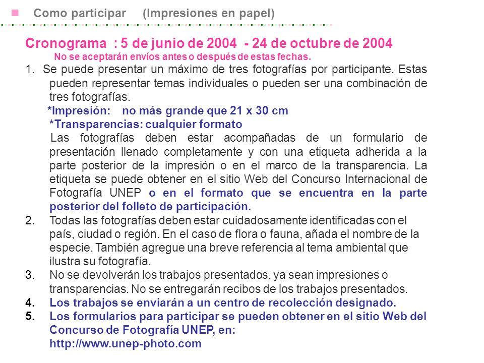 Cronograma : 5 de junio de 2004 - 24 de octubre de 2004 No se aceptarán envíos antes o después de estas fechas.