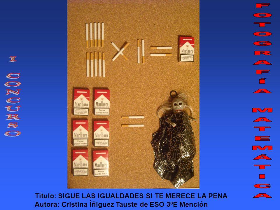 Título: SIGUE LAS IGUALDADES SI TE MERECE LA PENA Autora: Cristina Íñiguez Tauste de ESO 3ºE Mención