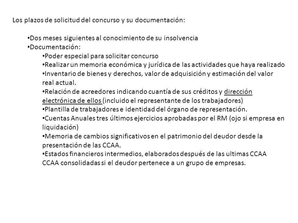 Los plazos de solicitud del concurso y su documentación: Dos meses siguientes al conocimiento de su insolvencia Documentación: Poder especial para sol