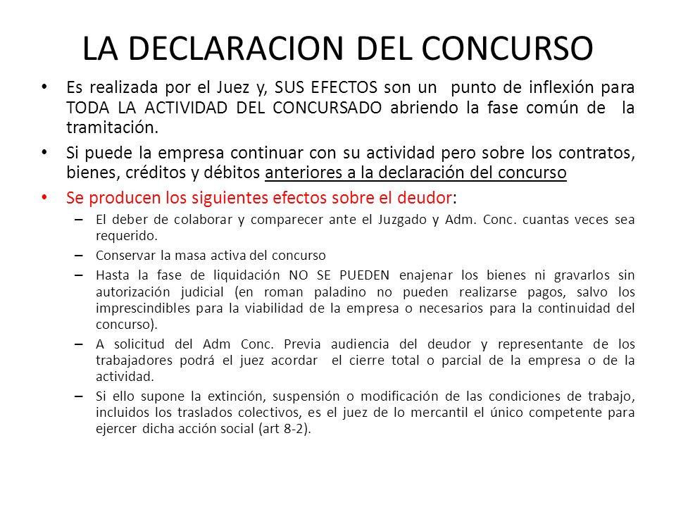 LA DECLARACION DEL CONCURSO Es realizada por el Juez y, SUS EFECTOS son un punto de inflexión para TODA LA ACTIVIDAD DEL CONCURSADO abriendo la fase c