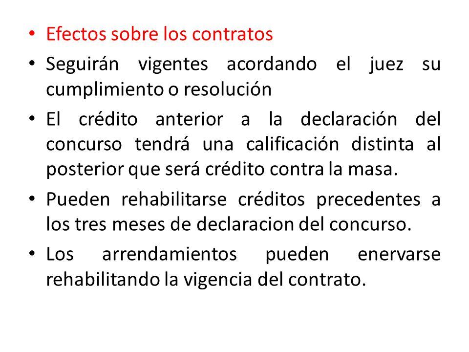 Efectos sobre los contratos Seguirán vigentes acordando el juez su cumplimiento o resolución El crédito anterior a la declaración del concurso tendrá